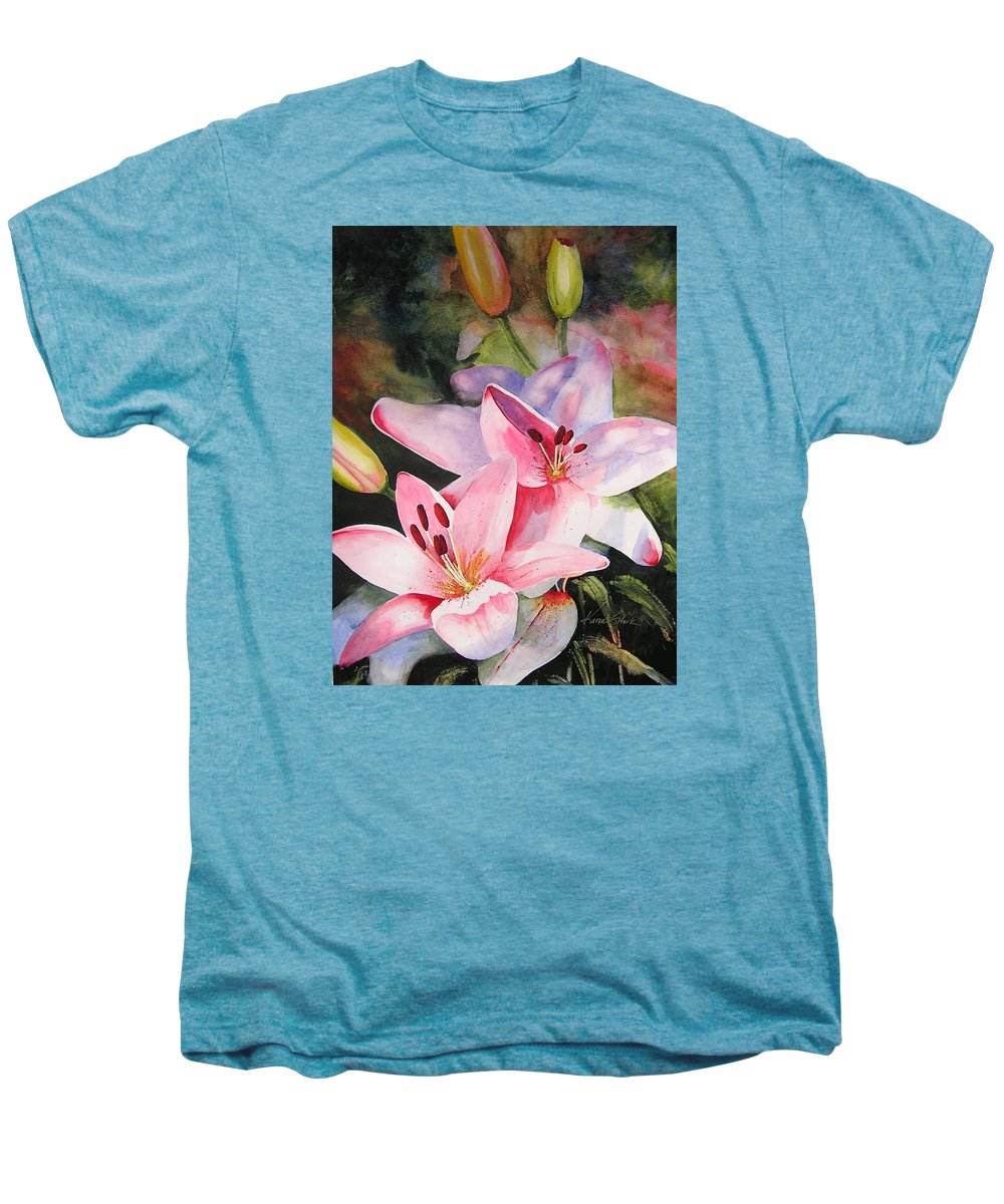 Lilies Men's Premium T-Shirt featuring the painting Shady Ladies by Karen Stark