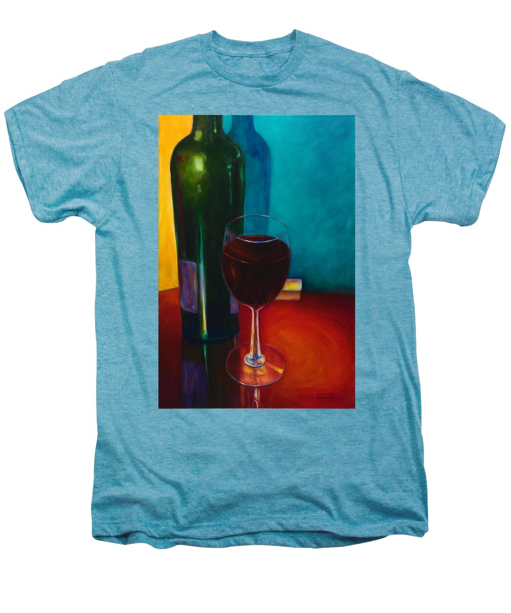 Wine Bottle Men's Premium T-Shirt featuring the painting Shannon's Red by Shannon Grissom