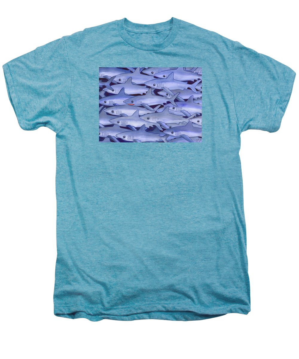 Shark Men's Premium T-Shirt featuring the painting Sharks by Catherine G McElroy
