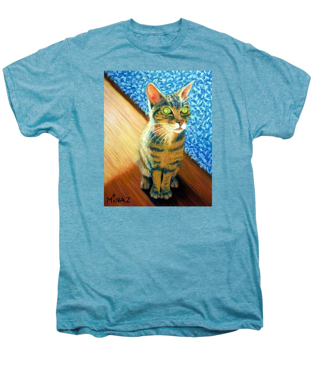 Cat Men's Premium T-Shirt featuring the painting She Wants To Be Famous by Minaz Jantz