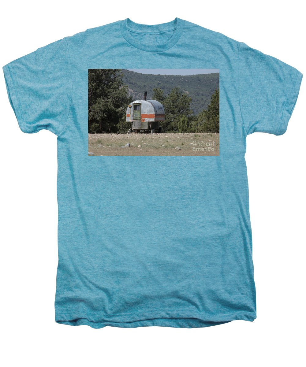 Sheep Men's Premium T-Shirt featuring the photograph Sheep Herder's Wagon by Jerry McElroy