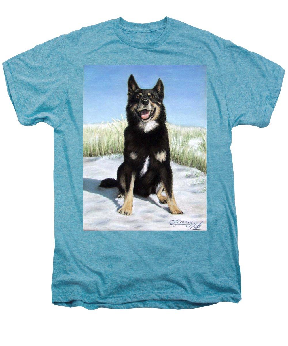 Dog Men's Premium T-Shirt featuring the pastel Shepherd Mix Timmy by Nicole Zeug