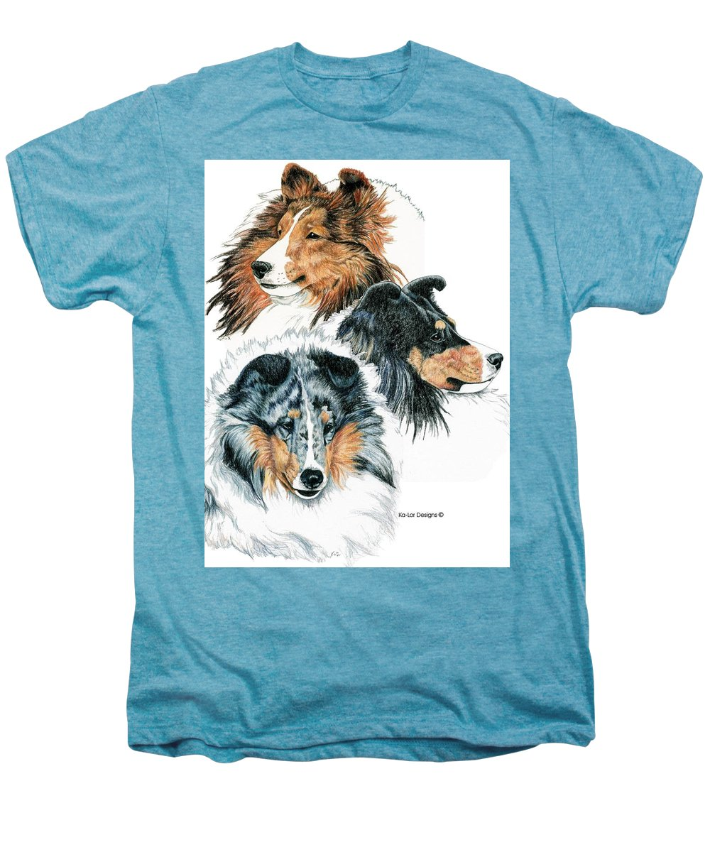 Shetland Sheepdog Men's Premium T-Shirt featuring the drawing Shetland Sheepdogs by Kathleen Sepulveda