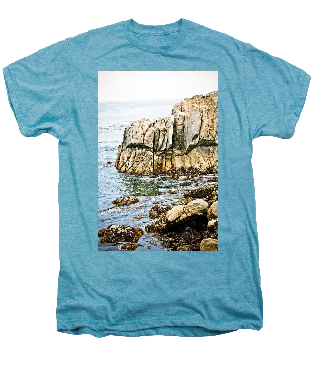 Pebble Beach Men's Premium T-Shirt featuring the photograph Shores Of Pebble Beach by Marilyn Hunt
