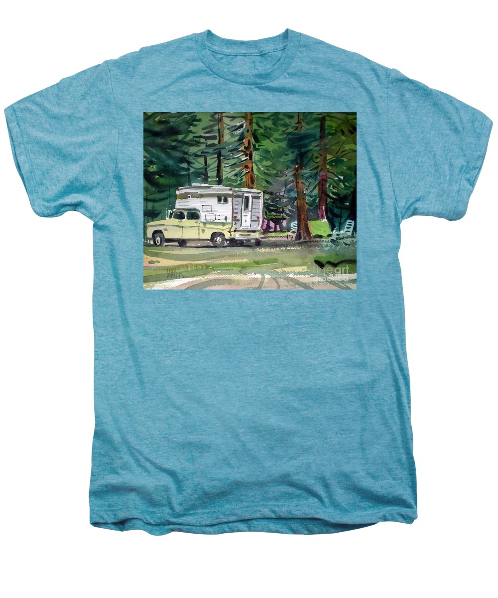 Camping Men's Premium T-Shirt featuring the painting Sierra Campsite by Donald Maier