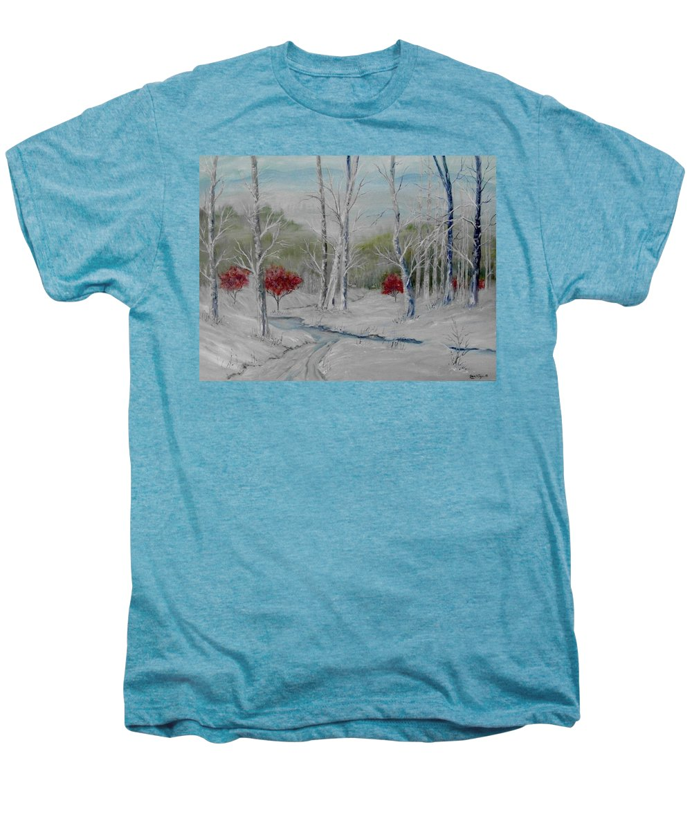 Snow; Winter; Birch Trees Men's Premium T-Shirt featuring the painting Silence by Ben Kiger