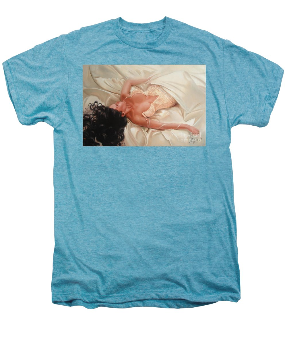 Art Men's Premium T-Shirt featuring the painting Silk And Thrill by Sergey Ignatenko