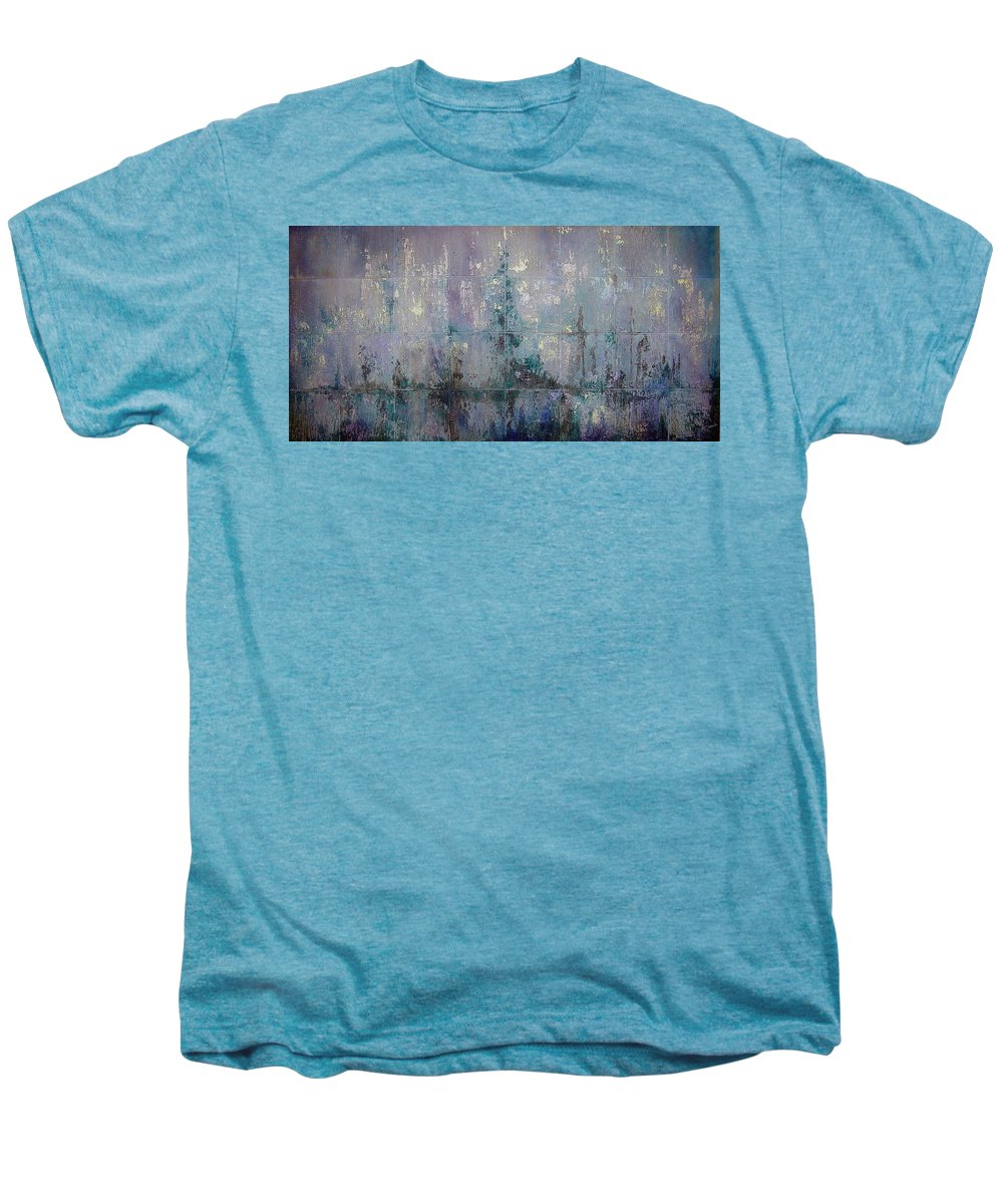 Abstract Men's Premium T-Shirt featuring the painting Silver And Silent by Shadia Derbyshire