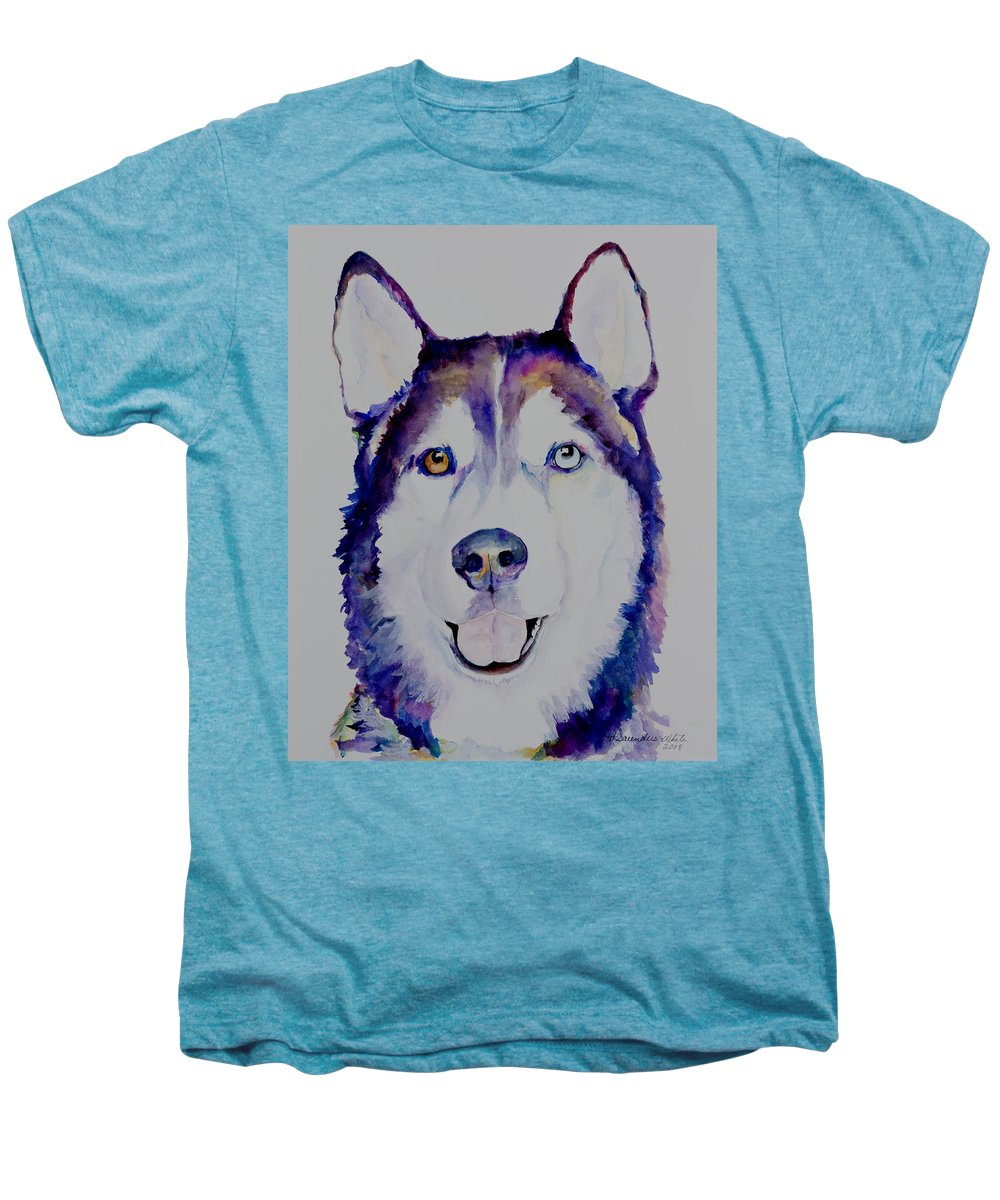 Siberian Husky Men's Premium T-Shirt featuring the painting Simba by Pat Saunders-White