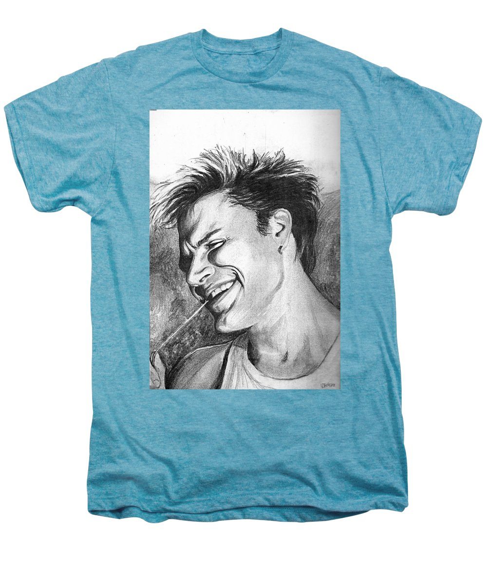 Simon Man Face Portrait Young Fresh Smile Men's Premium T-Shirt featuring the drawing Simon by Veronica Jackson