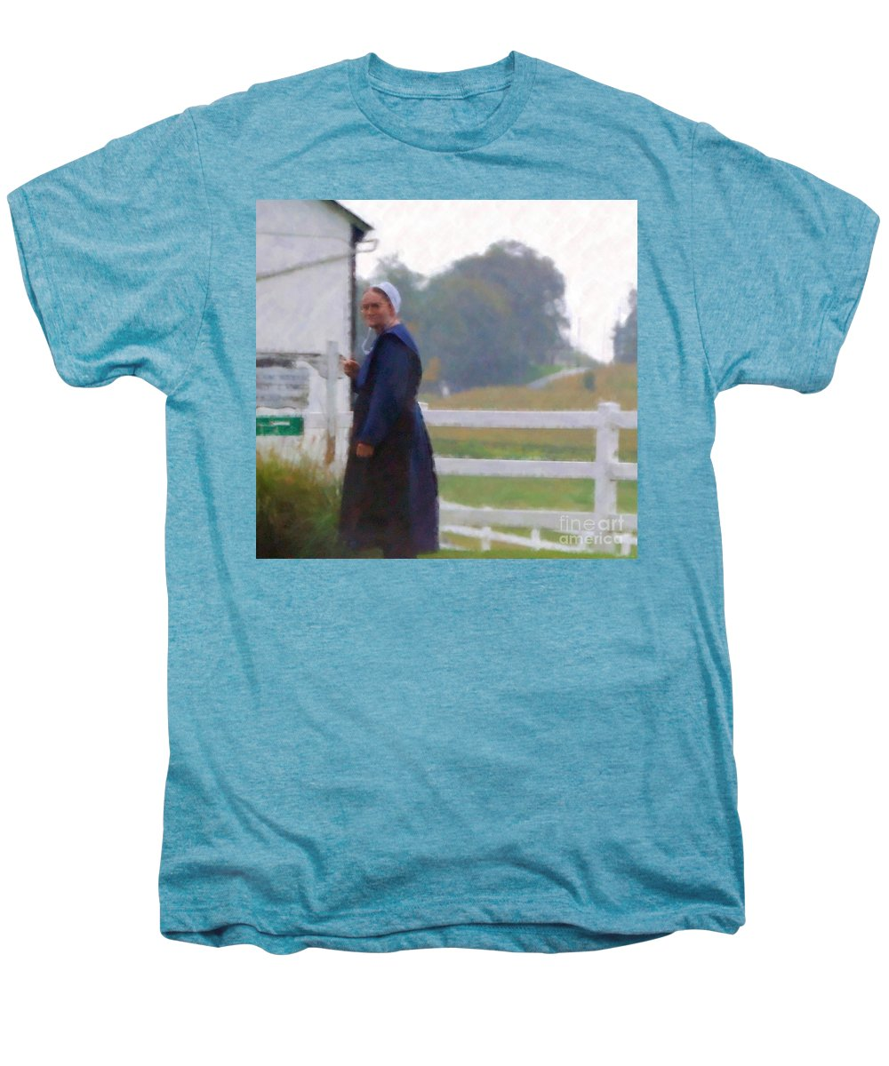 Amish Men's Premium T-Shirt featuring the photograph Simple Living by Debbi Granruth