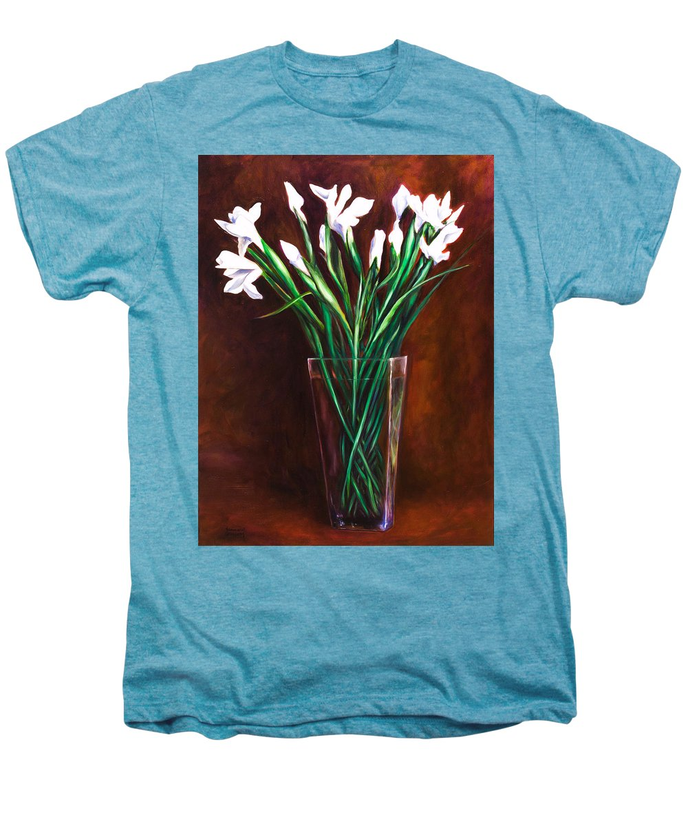 Iris Men's Premium T-Shirt featuring the painting Simply Iris by Shannon Grissom