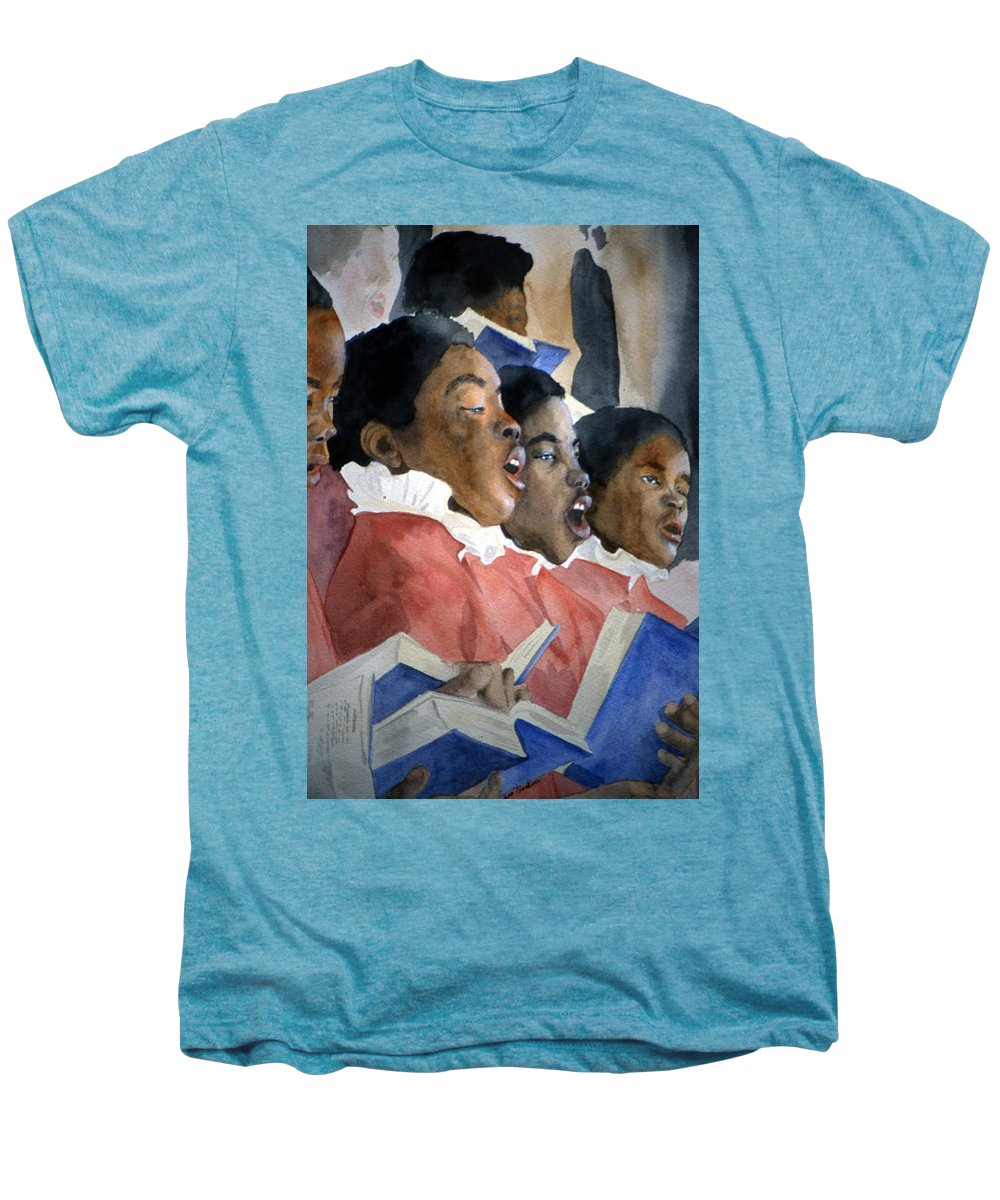 Choir Men's Premium T-Shirt featuring the painting Sing Out Your Joy by Jean Blackmer