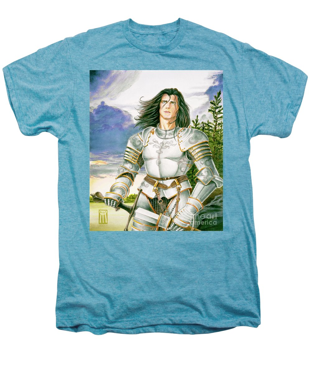 Swords Men's Premium T-Shirt featuring the painting Sir Lancelot by Melissa A Benson