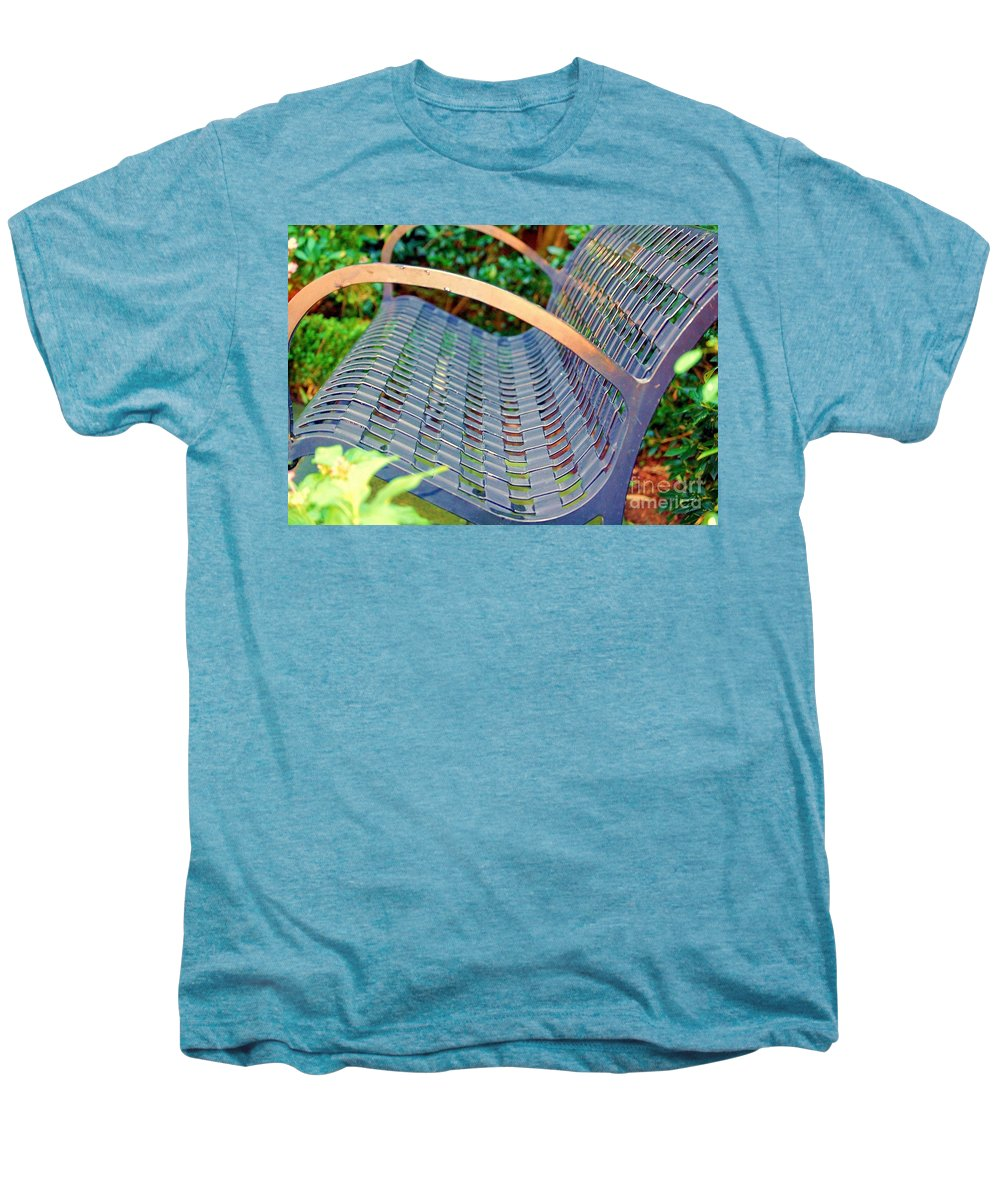 Bench Men's Premium T-Shirt featuring the photograph Sitting On A Park Bench by Debbi Granruth