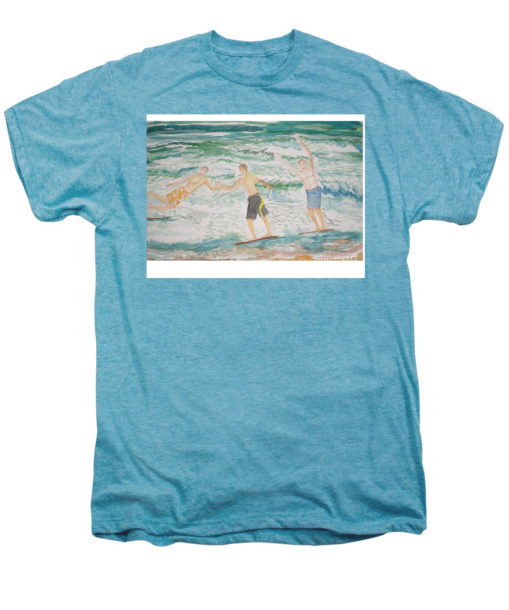Seascape Men's Premium T-Shirt featuring the painting Skim Boarding Daytona Beach by Hal Newhouser