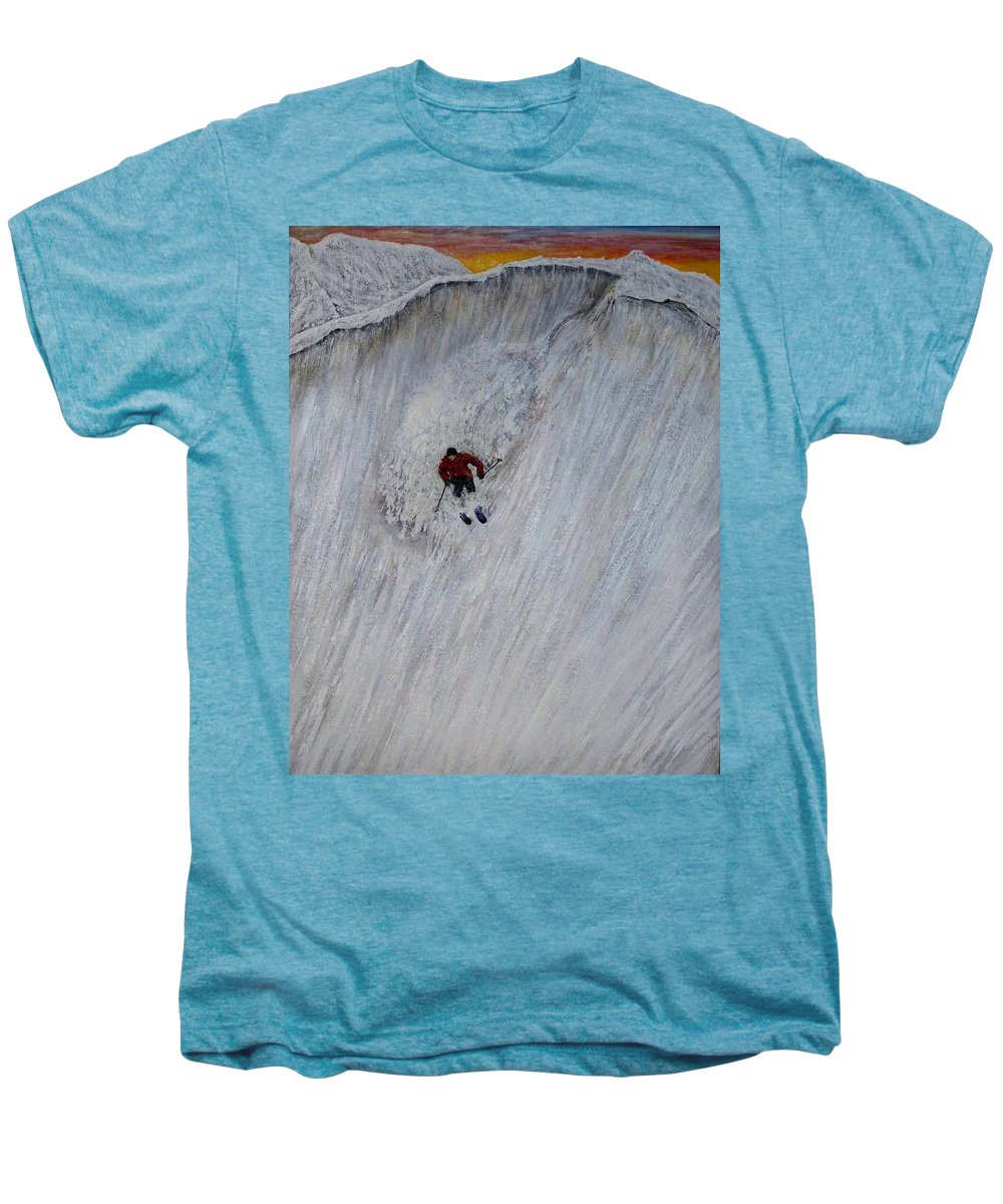 Landscape Men's Premium T-Shirt featuring the painting Skitilthend by Michael Cuozzo