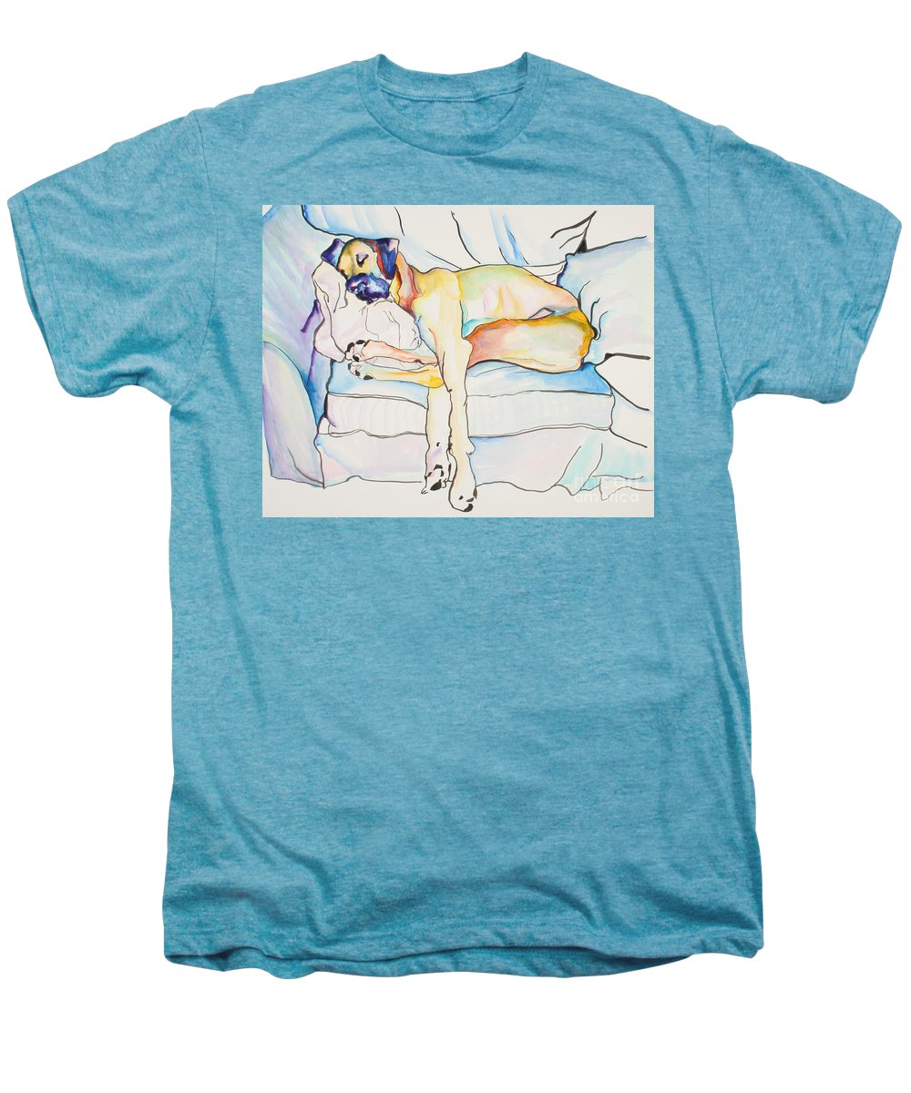 Great Dane Men's Premium T-Shirt featuring the painting Sleeping Beauty by Pat Saunders-White