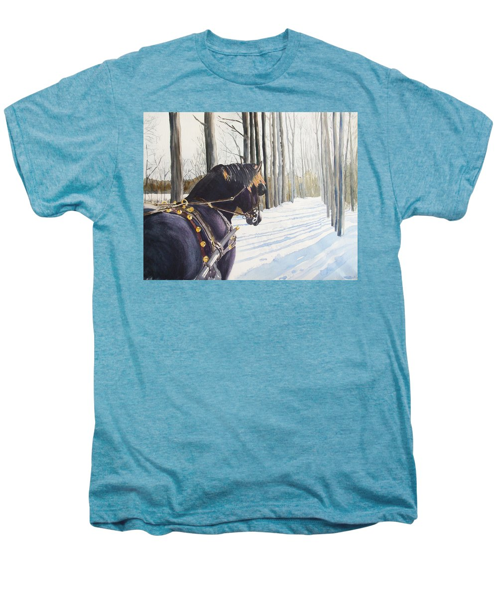 Horse Men's Premium T-Shirt featuring the painting Sleigh Bells by Ally Benbrook