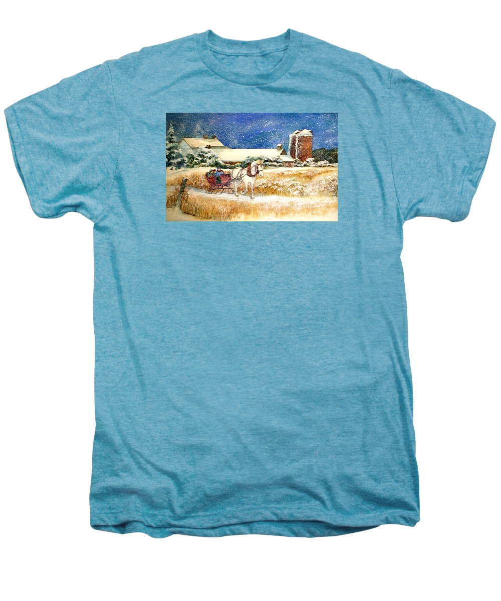 Watercolor;sleigh;horse;barn;silos;winter;snow;sleigh Ride;christmas; Men's Premium T-Shirt featuring the painting Sleigh Ride At Brickers by Lois Mountz