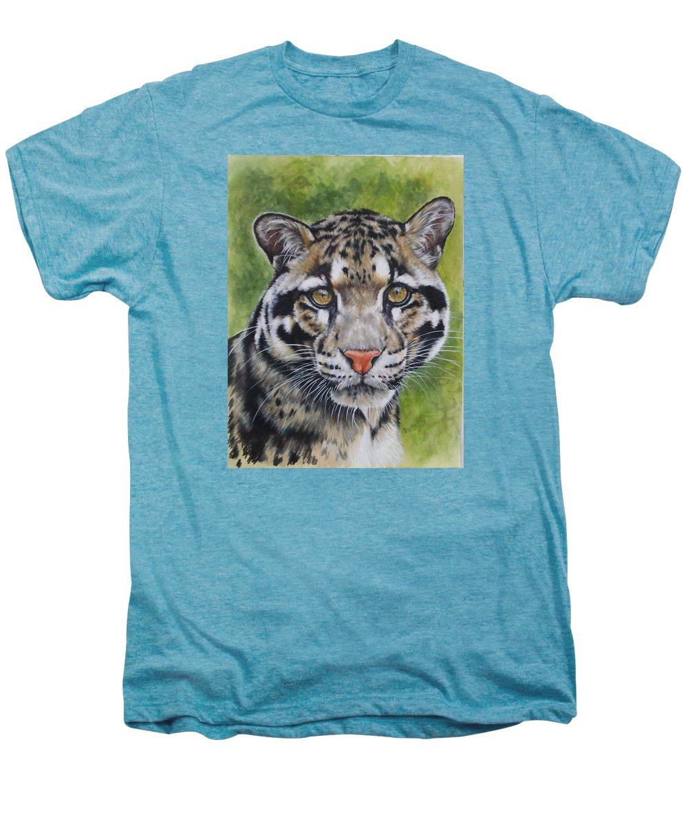 Clouded Leopard Men's Premium T-Shirt featuring the mixed media Small But Powerful by Barbara Keith