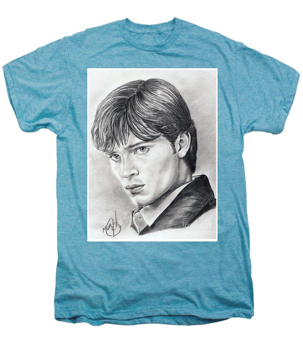 Superman Men's Premium T-Shirt featuring the drawing Smallville Tom Welling by Murphy Elliott