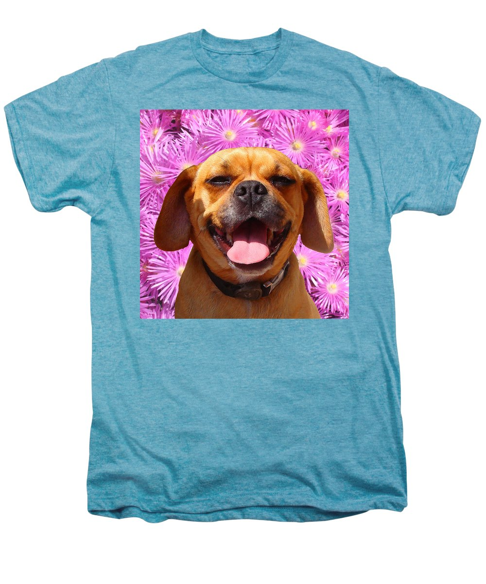Animal Men's Premium T-Shirt featuring the painting Smiling Pug by Amy Vangsgard