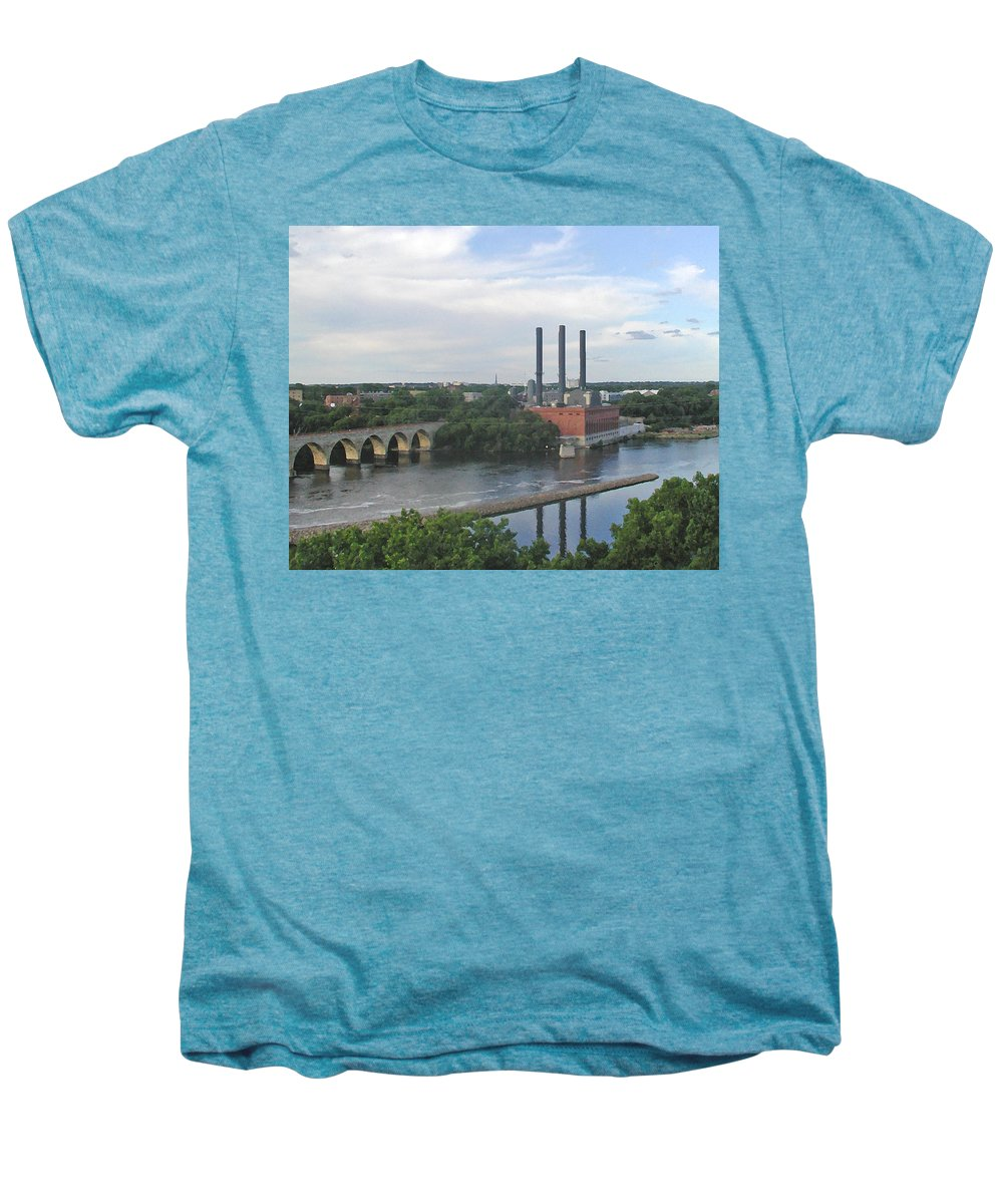 Minneapolis Men's Premium T-Shirt featuring the photograph Smokestacks On The Mississippi by Tom Reynen