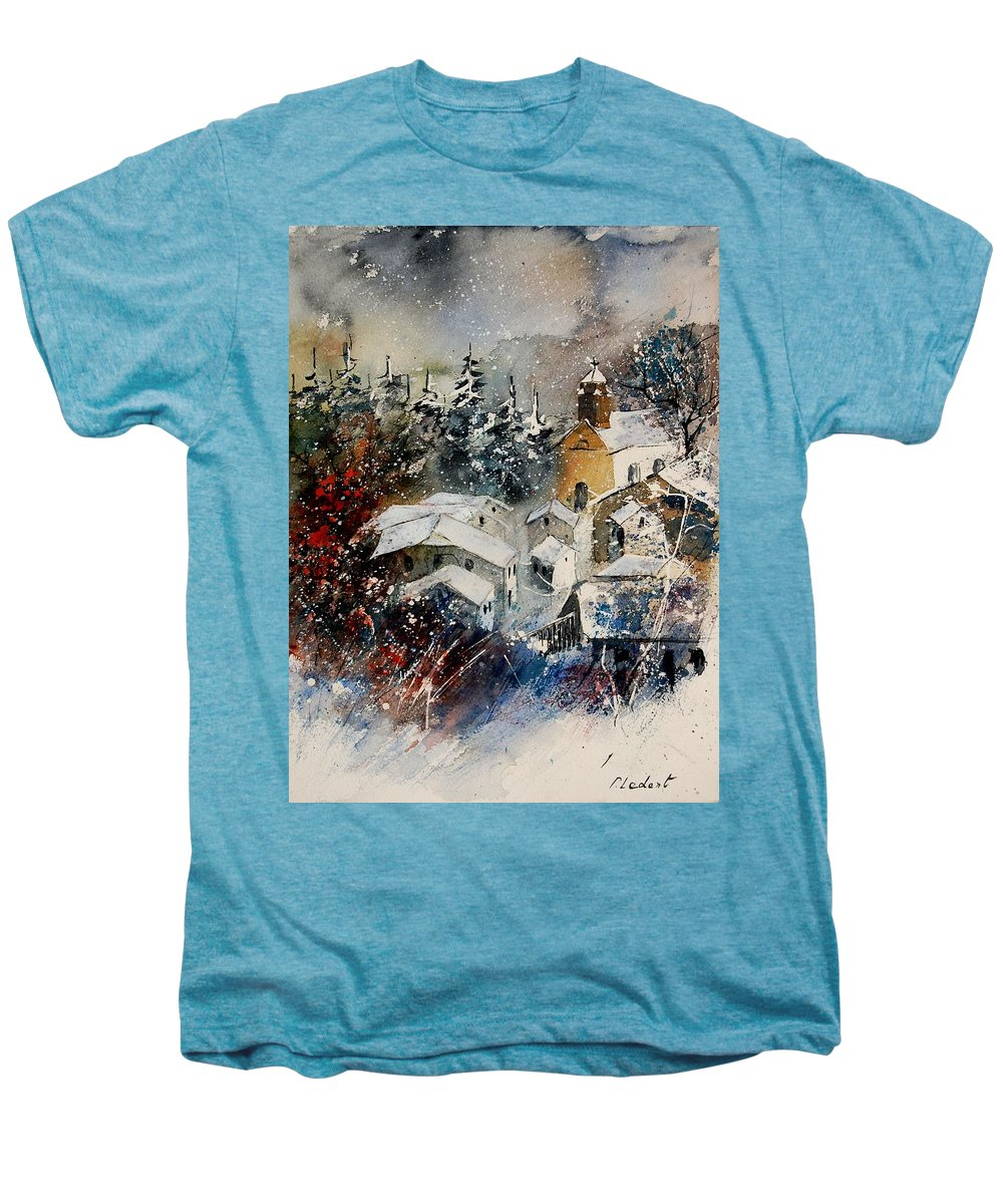 Landscape Men's Premium T-Shirt featuring the painting Snon In Frahan by Pol Ledent