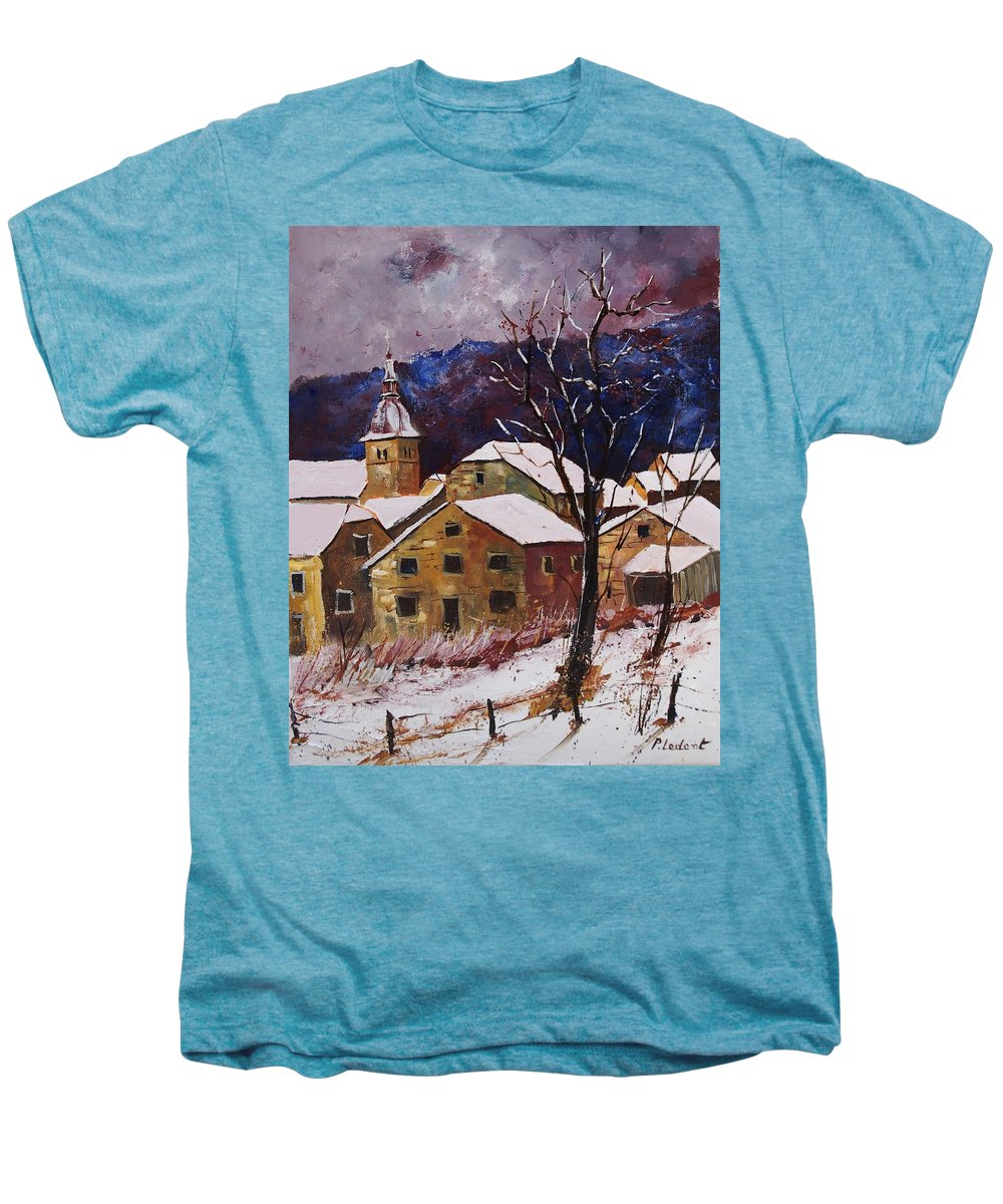 Landscape Men's Premium T-Shirt featuring the painting Snow In Chassepierre by Pol Ledent