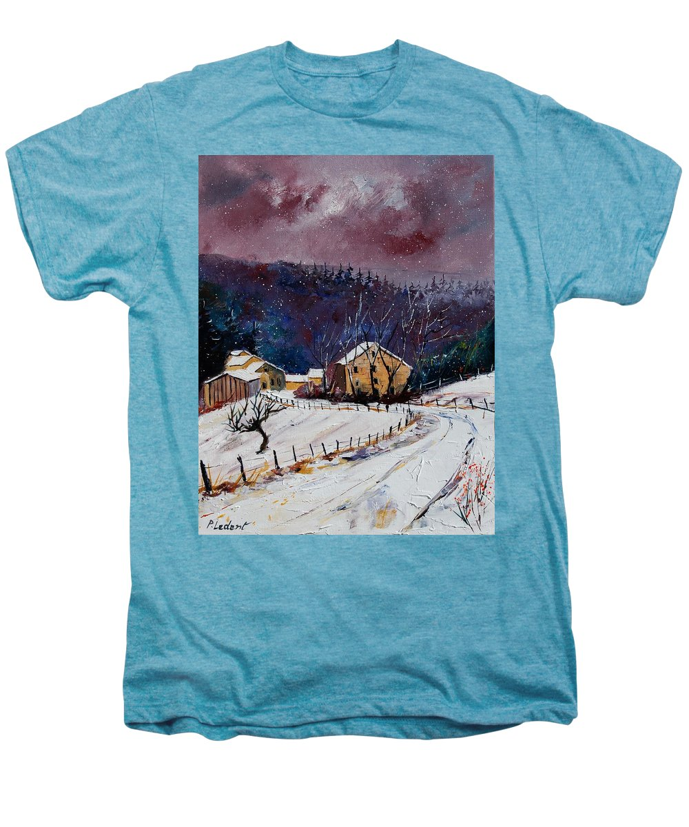 Landscape Men's Premium T-Shirt featuring the painting Snow In Sechery by Pol Ledent