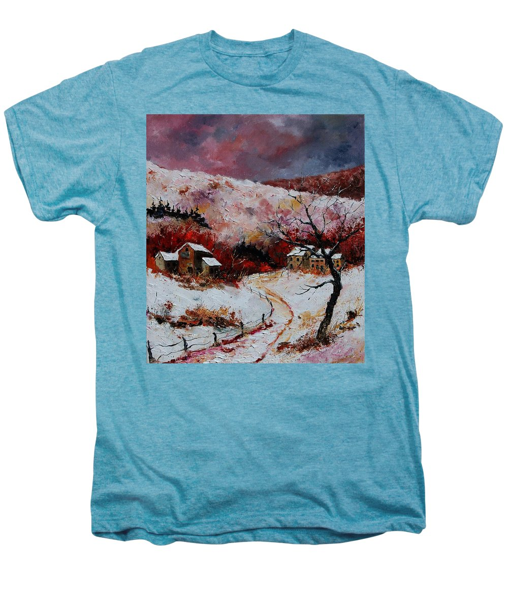 Snow Men's Premium T-Shirt featuring the painting Snow In The Ardennes 78 by Pol Ledent