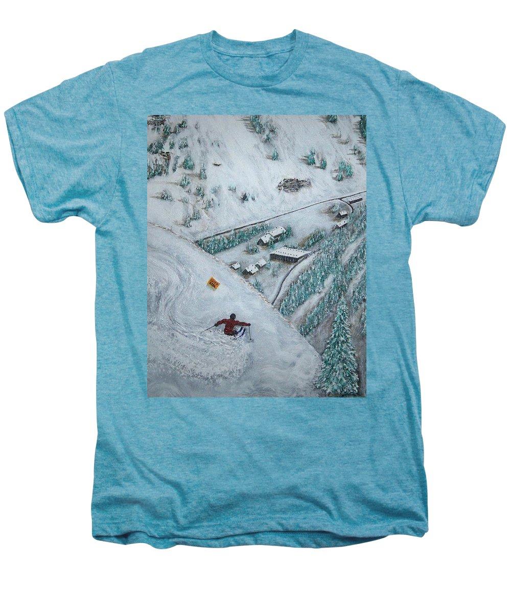 Ski Men's Premium T-Shirt featuring the painting Snowbird Steeps by Michael Cuozzo