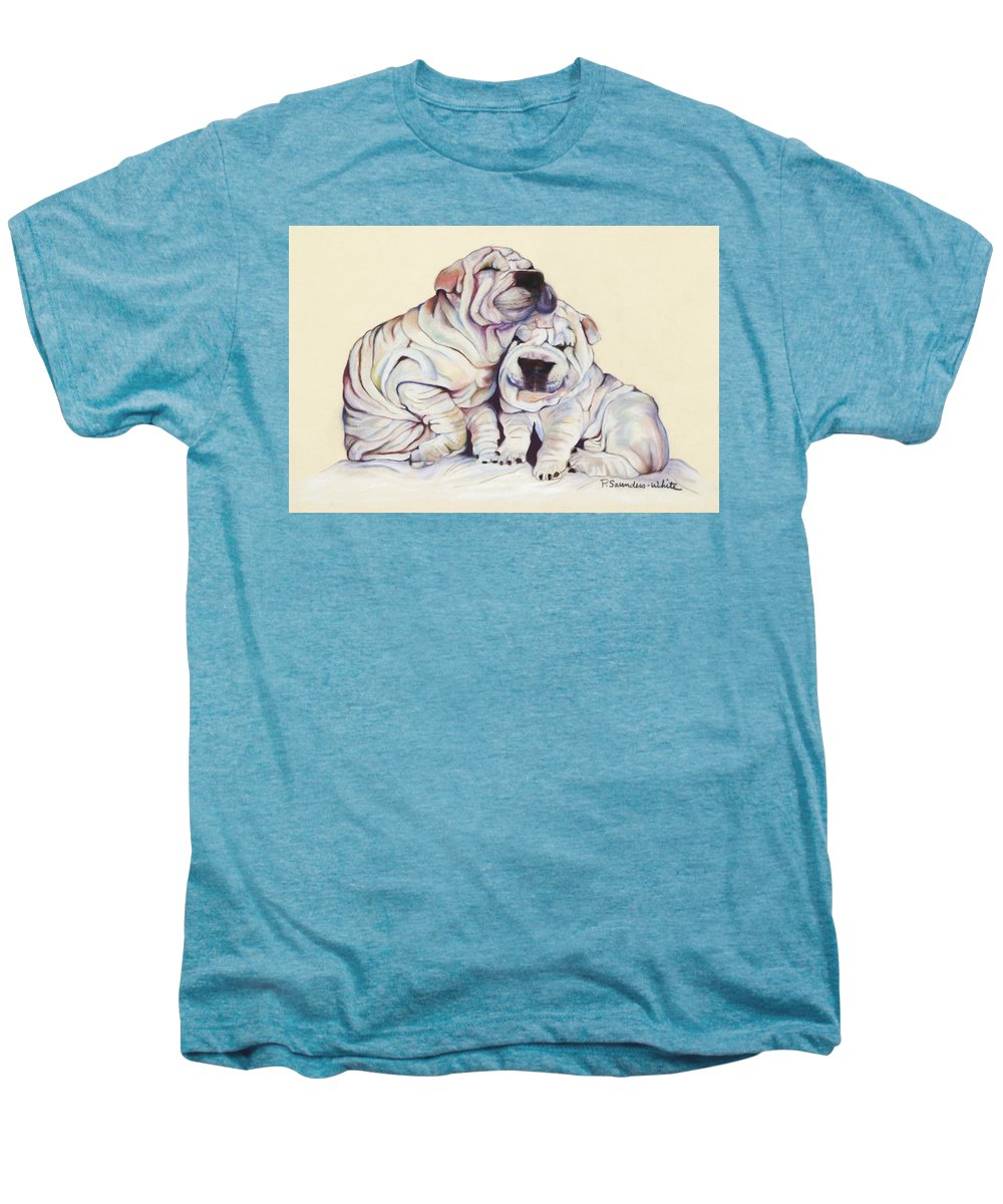 Dog Painting Men's Premium T-Shirt featuring the pastel Snuggles by Pat Saunders-White