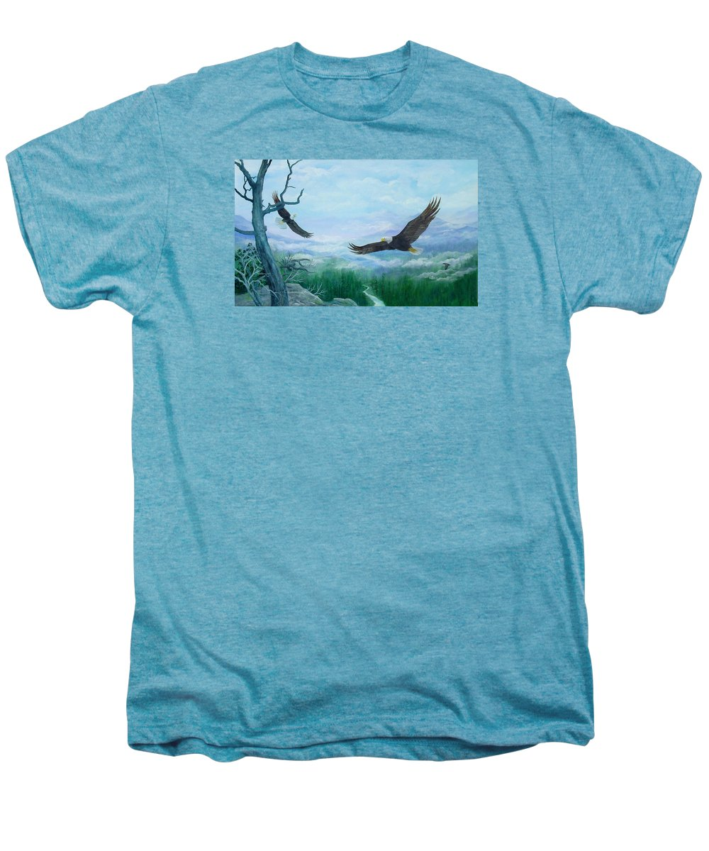 Eagles;birds;river Valley;mountains;sky; Men's Premium T-Shirt featuring the painting Soaring by Lois Mountz