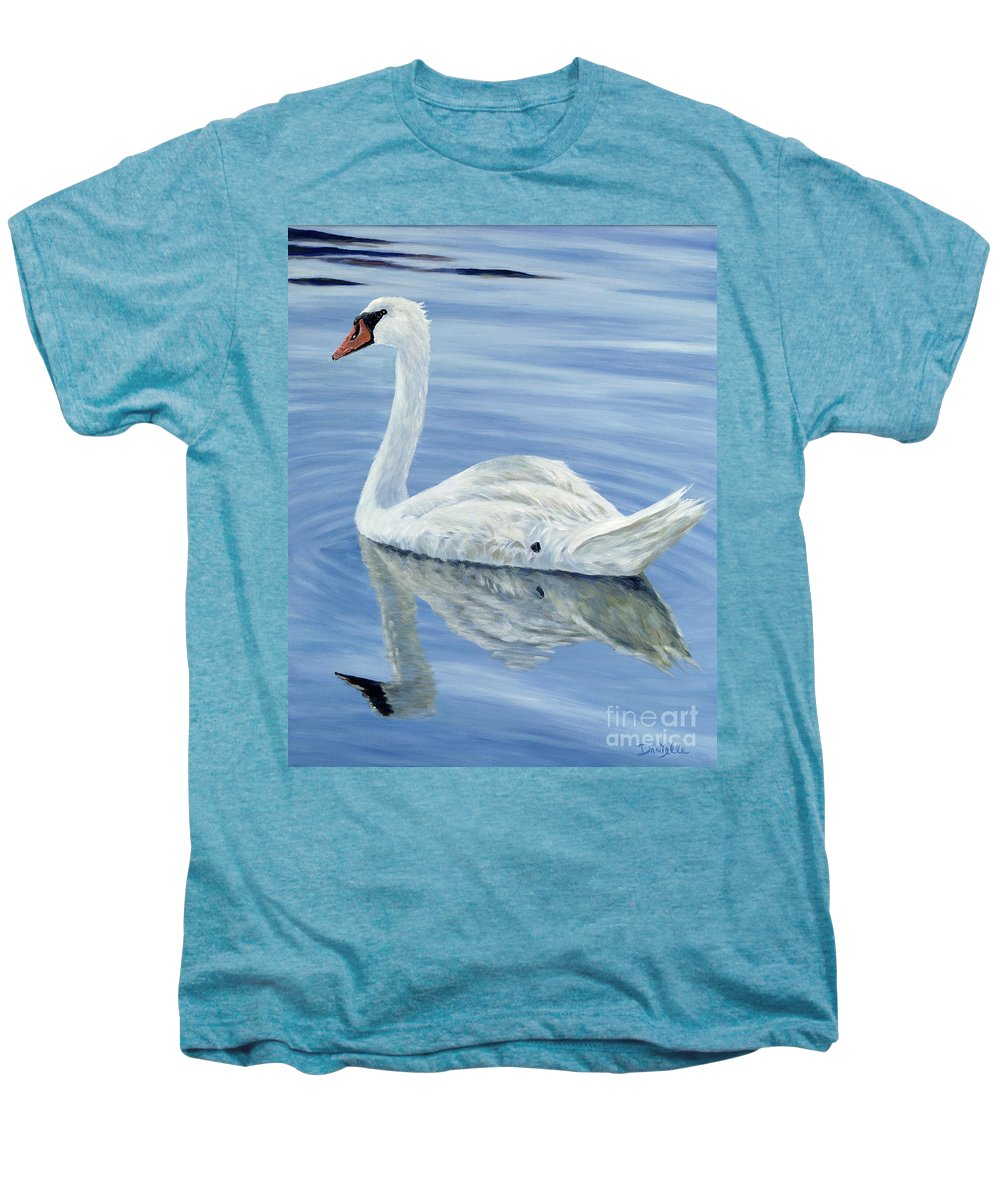 Swan Men's Premium T-Shirt featuring the painting Solitary Swan by Danielle Perry