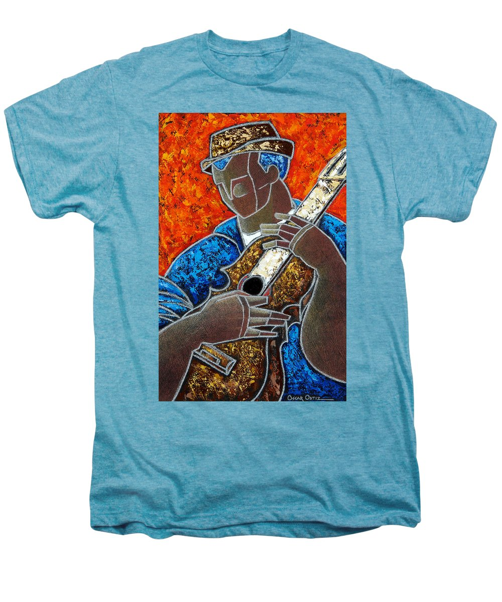Puerto Rico Men's Premium T-Shirt featuring the painting Solo De Cuatro by Oscar Ortiz