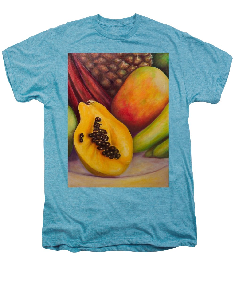 Tropical Fruit Still Life: Mangoes Men's Premium T-Shirt featuring the painting Solo by Shannon Grissom