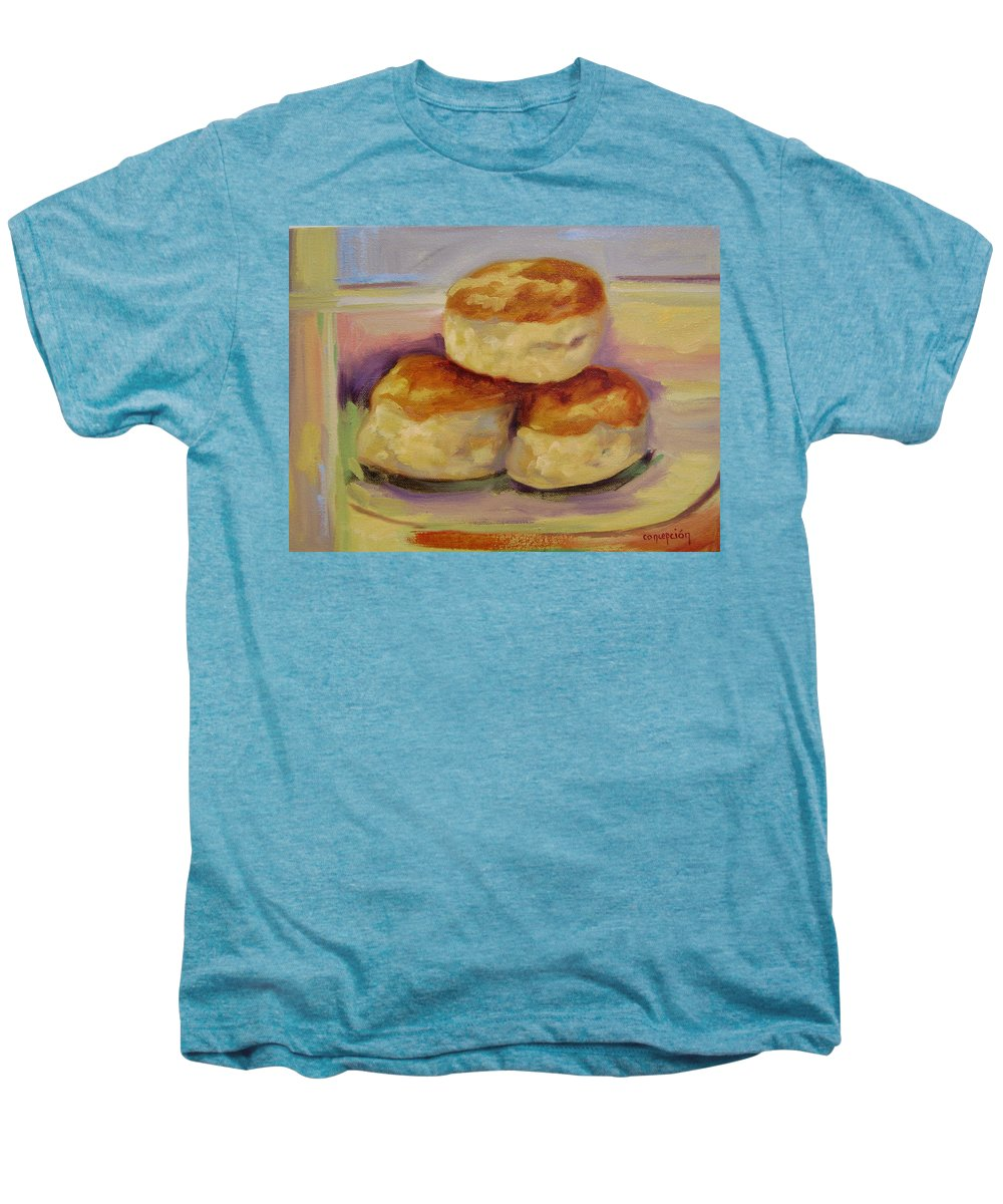 Biscuits Men's Premium T-Shirt featuring the painting Southern Morning Fare by Ginger Concepcion