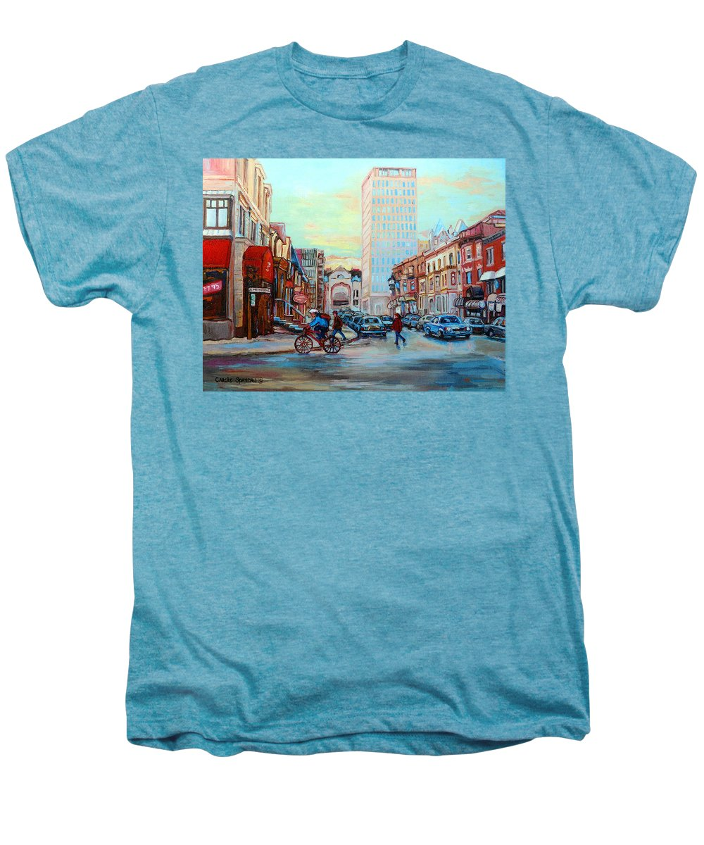 Montreal Men's Premium T-Shirt featuring the painting Speed Cyclist On Crescent by Carole Spandau