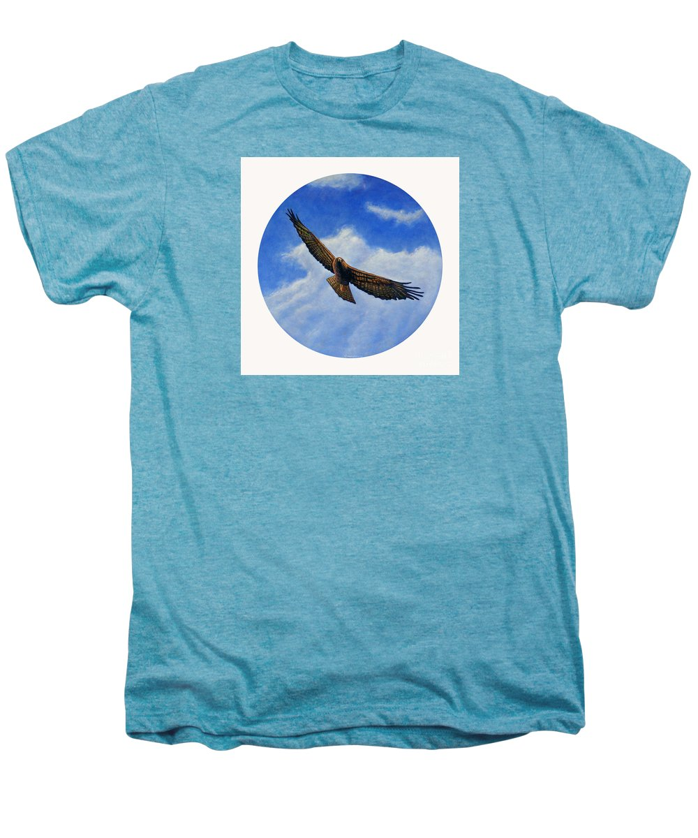 Hawk Men's Premium T-Shirt featuring the painting Spirit In The Wind by Brian Commerford