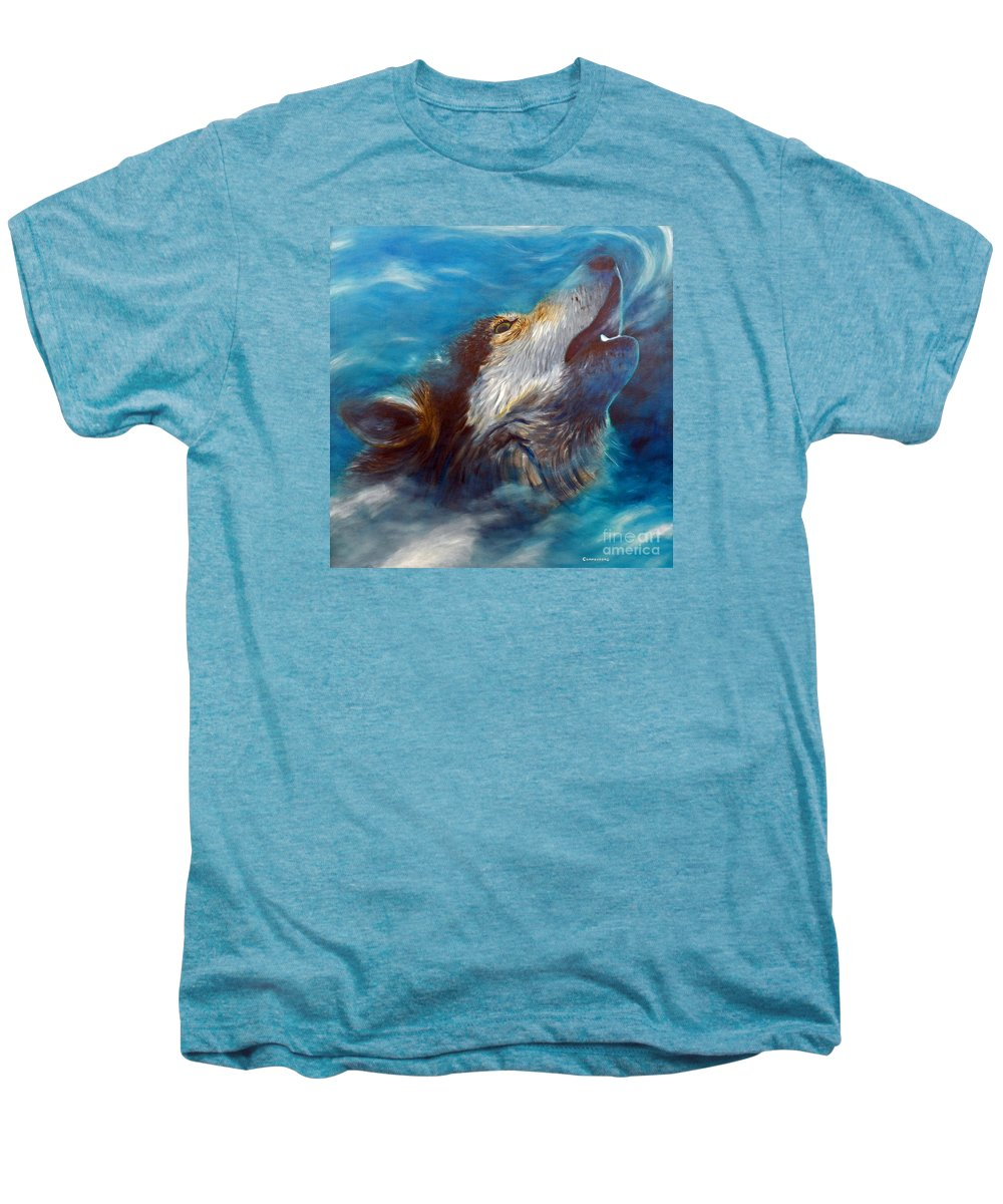 Wolf Men's Premium T-Shirt featuring the painting Spirit Of The Wolf by Brian Commerford