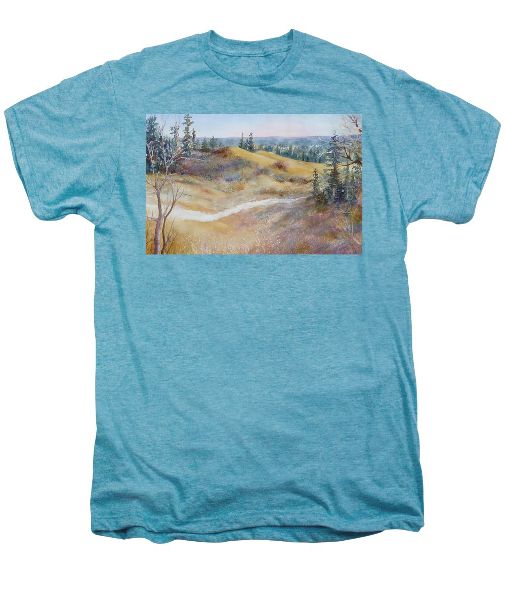 Landscape Men's Premium T-Shirt featuring the painting Spirit Sands by Ruth Kamenev