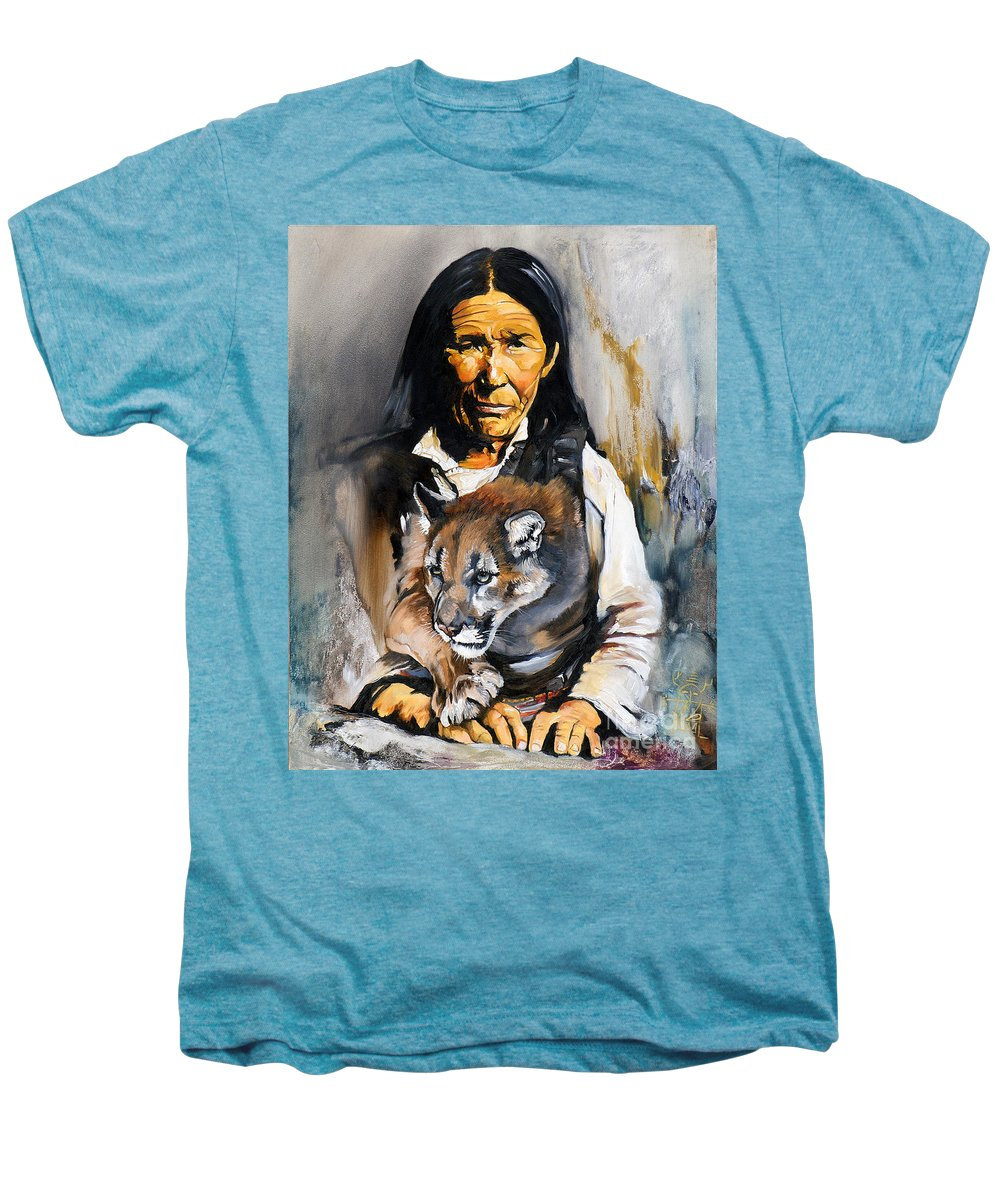 Spiritual Men's Premium T-Shirt featuring the painting Spirit Within by J W Baker