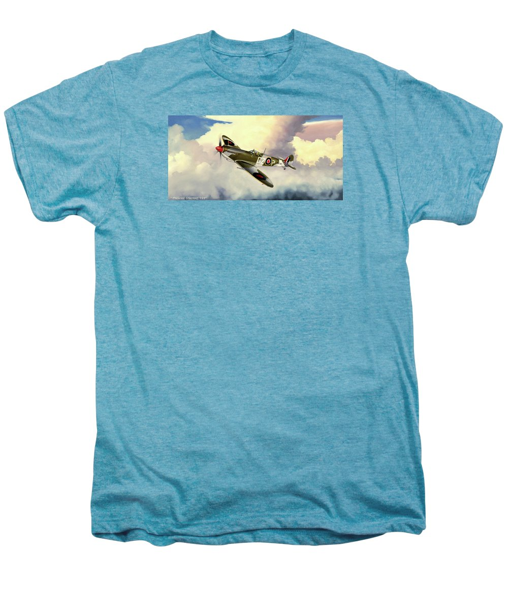 Military Men's Premium T-Shirt featuring the painting Spitfire by Marc Stewart