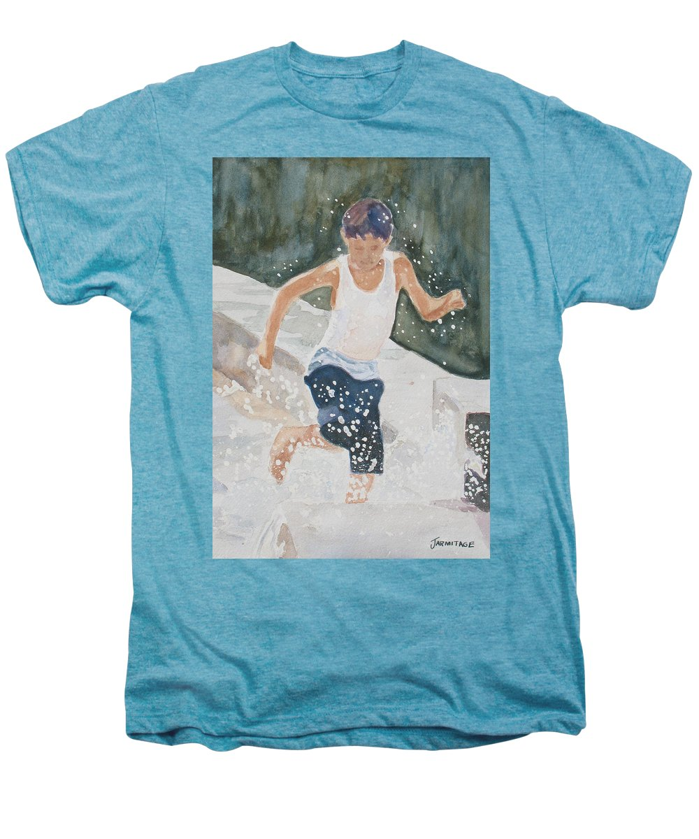 Boy Men's Premium T-Shirt featuring the painting Splash Dance by Jenny Armitage