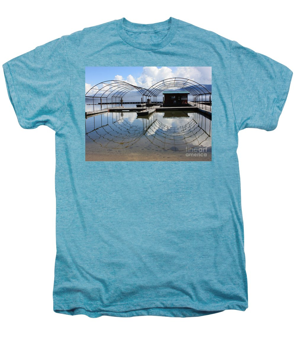 Spring Men's Premium T-Shirt featuring the photograph Spring Docks On Priest Lake by Carol Groenen