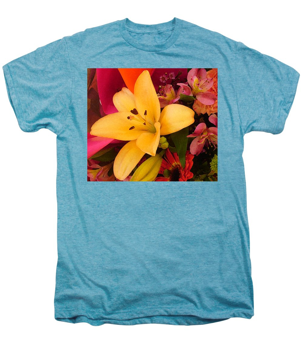 Lily Men's Premium T-Shirt featuring the painting Spring Lily Bouquet by Amy Vangsgard