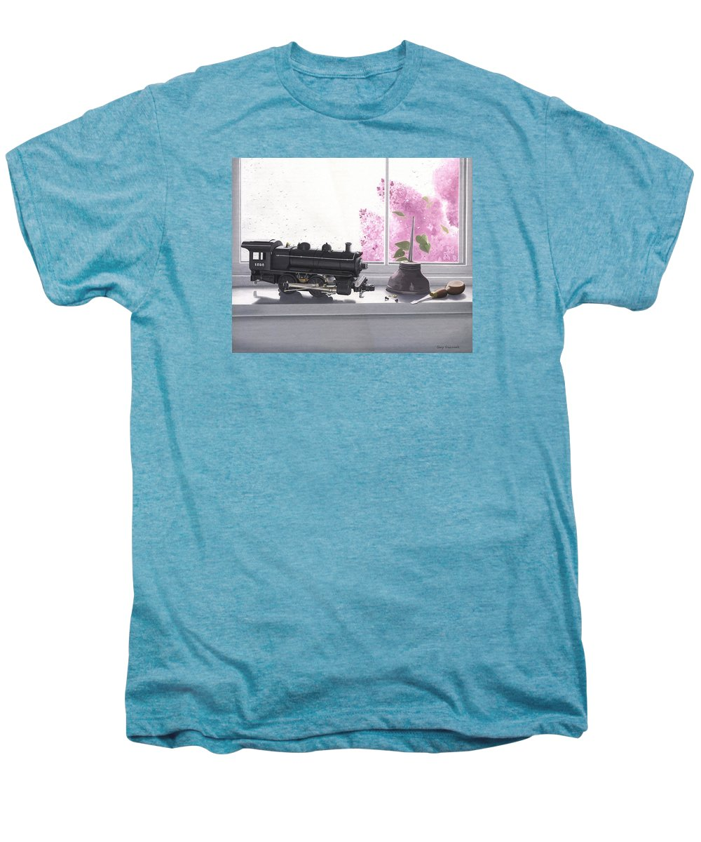 Lionel Men's Premium T-Shirt featuring the painting Spring Rain Electric Train by Gary Giacomelli
