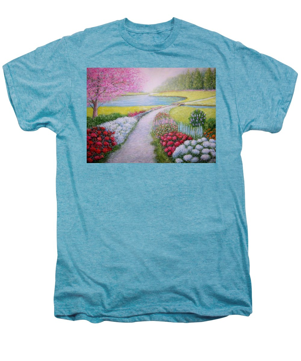 Landscape Men's Premium T-Shirt featuring the painting Spring by William H RaVell III
